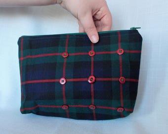 Green and Blue Tartan Handbag Clutch Purse with Dark Red Button Decortation
