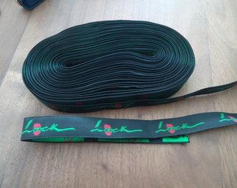 Ribbon WOVEN black - loock - size 16 mm * 1 m