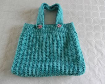 Turquoise wool tote bag