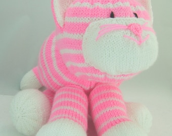 KNITTING PATTERN - Cuddles The Cat Soft Toy Knitting Pattern Download From Knitting by Post
