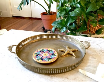 Vintage Round Brass Tray  • Floral Handled Serving Tray • Bohemian Decor