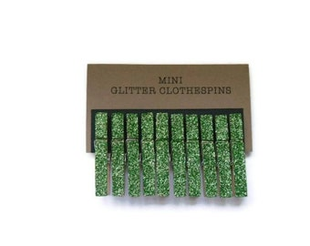 Mini Celery Green Glitter Clothespins. Set of Ten (10). Celery Green Glitter. Wedding Decor. Party Decor. Holiday Decor.