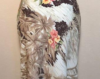 Vintage 90s Hawaiian Floral Skirt Multicolored Hawaiian Bohemian Skirt Sz S