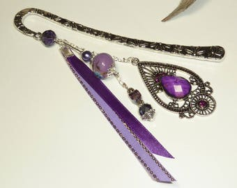 "Large bookmark Silver ""Indian"" Purple Ribbon"