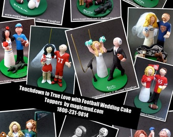 Football Bride and Groom Wedding Cake Toppers, Custom Made NFL Wedding Cake Topper - Bronco's Wedding Cake Topper