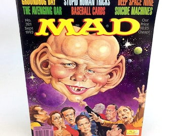 Vintage Mad Magazine September 1993 Star Trek DS9 Deep Space 9 Unfolded 321