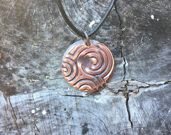 Hand Forged Copper Petroglyph necklace