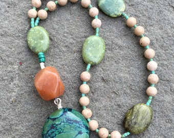 Anglican Rosary/ Protestant Rosary- River-stone jasper, apricot jade, and yellow turquoise prayer beads with turquoise pendant