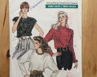 """Vintage Vogue 7415 1980's loose fitting blouse with long or cap sleeves, button up back Size 6-8-10 Bust 30 1/2 - 32 1/2"""""""