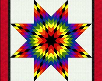 ROY-G-BIV Lone Star Quilt Pattern - PDF - Rainbow Star Quilt Pattern - Quilting Pattern - Download