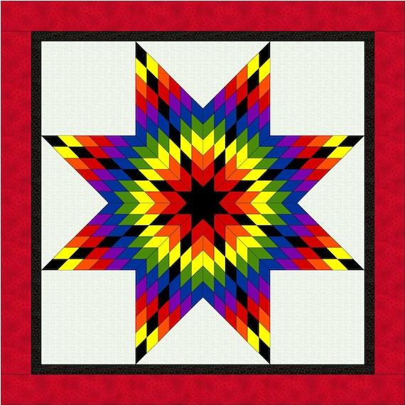 ROY G BIV Lone Star Quilt Pattern PDF Rainbow Star Quilt