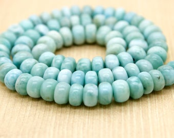 Larimar Natural Gemstone Rondelle Beads (5mm x 8mm)