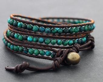 Chrysocolla Brown Leather Wrap Bracelet Beaded Stone, Stone Woven Stone Hipster Bracelets, Leather Stone Bracelets