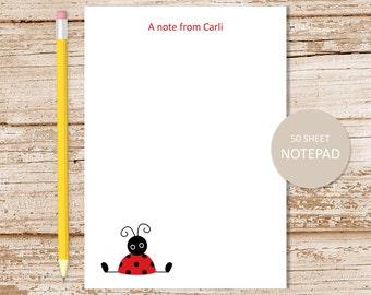 personalized ladybug notepad . red ladybug note pad . personalized stationery . girls stationary gift