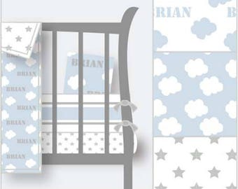 Personalized Nursery Bedding-Personalized Crib Bedding-Blue Nursery-Boy Nursery-Cloud Nursery-Star Bedding