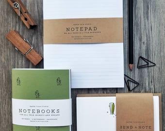 Cactus Stationery Set, Handmade, Notepad, Notebooks, Cards with envelopes
