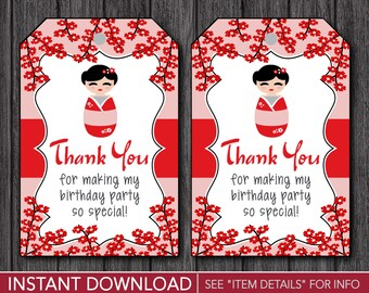 Kokeshi Birthday Favor Tags - Kokeshi Thank You Party Favor Tags - Printable Digital File - INSTANT DOWNLOAD
