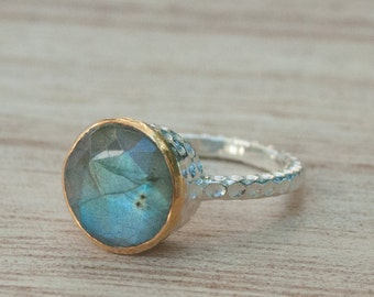 Rainbow Labradorite Ring * Sterling Silver 925 * Boho * Organic * Gold Vermeil * Mix metals* Gypsy * Bridesmaid* Solitaire * Bridal * BJR045
