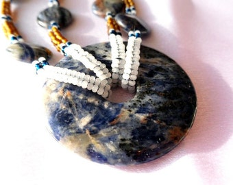 Beaded African Blue Lapis Rope Necklace