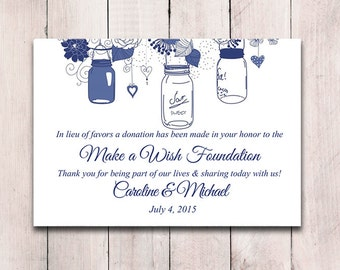 Wedding Favor Donation Card Template - Mason Jar Wedding Charity Favor Donation Card - Navy Wedding Favor - DIY Wedding Mason Jar Favor