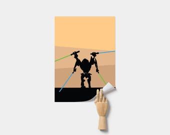 Star Wars Poster, Print. Poster. General Grievous Poster. Star Wars Grievous Poster. Minimal Star Wars Poster.