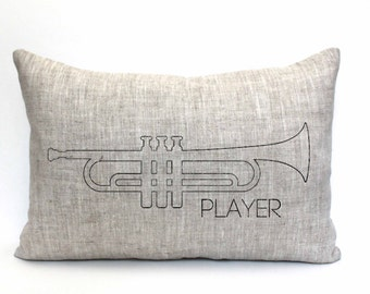 """trumpet pillow, music lover gift, trumpet player gift, musical gift, music teacher gift, christmas gift  - """"The Trumpet Player"""""""