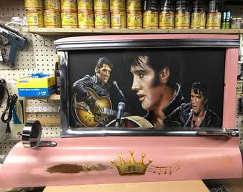 Elvis-'55 pink Cadillac door- oil painting of Elvis set in a 1955 Cadillac door