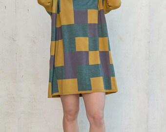 jersey de lana merino con cuadros de colores (antes 149 euros)