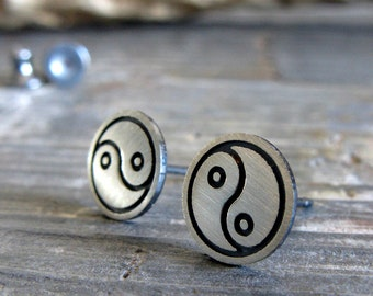 Yin Yang post earrings. Sterling silver handmade studs. Polished or brushed. Chinese meditiation balance jewelry. Stocking stuffer for her.