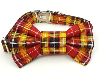 Red and Orange Plaid Check Dog Collar and Bowtie Set