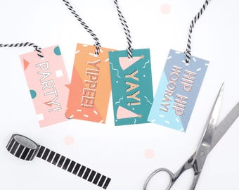 Birthday Gift Tags // Birthday Present Tags with String // Colourful Gift Wrap Ideas