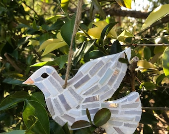 Handmade Mosaic Dove Christmas Tree Decoration - White - 10cm