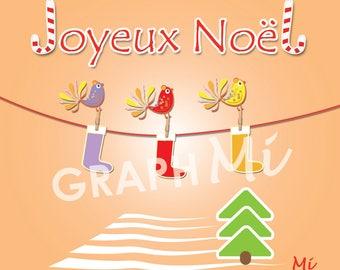 """Postcard """"Christmas stocking"""""""