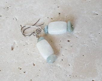 Natural Amazonite Earrings, Genuine Stone Earrings, Healing Crystals, Aqua and White Gemstone