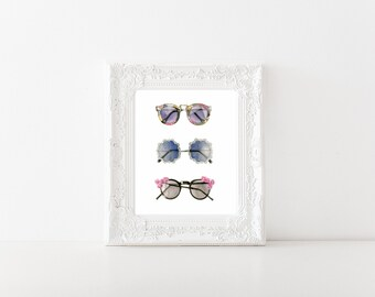 Vintage sunglasses watercolor art print // Home decor // Gifts for her