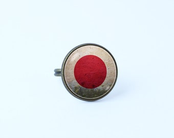 Japanese flag ring Flag of Japan Patriotic ring Japan jewelry Unique gift Flag sign ring Patriotic jewelry Flag ring Japanese flag Red White