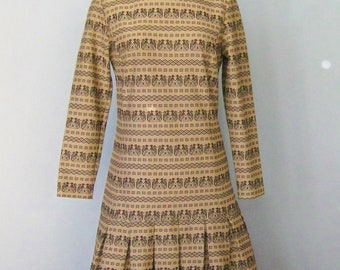 Brown Dress / vtg 60s / Patty Double Knit Long sleeved dropped waist Brown Dress