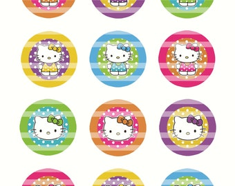 Summer Hello Kitty 2 inch Circles Digital Collage Sheet