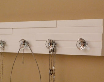 20 inches/5 knobs Jewelry Organizer, Necklace Holder, Bracelet Holder, White