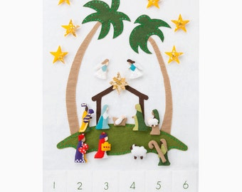 Nativity Advent Calendar - Pattern - Advent Calendar - Star of Wonder Base with 24 Magnetic Character Ornaments