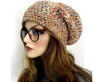 Colorful Slouchy Hat, Fall colors, Boho hat, Handmade Hat, Winter Hat,Warm Hat, Slouchy Beanie, Gift for Teens or Women, Ready to ship
