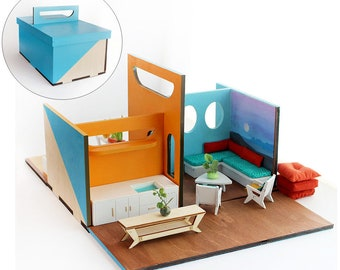 The LUNCH BOX Dollhouse - A Portable, Fold-up, Miniature House in 1:24 scale
