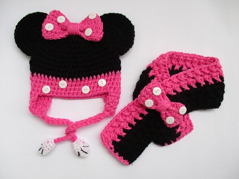 Häkeln Minnie Maus Set Mütze und Schal Mädchen-Outfits