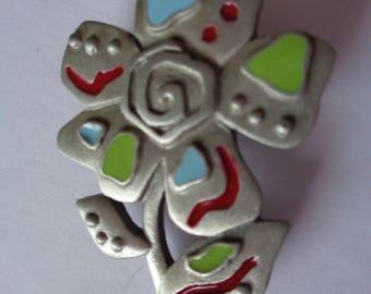 Vintage Signed JJ Silver pewter Southern Flower Brooch/Pin