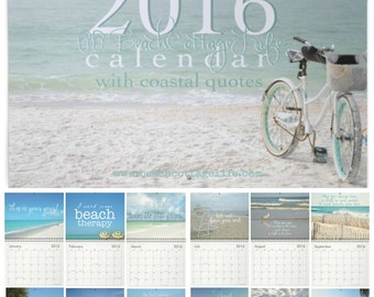 "2016 Wall Calendar COASTAL QUOTES Beach Cottage Life | René Marie Photography (12 ) 8.5x11"" photos chic island seaside home happy place"