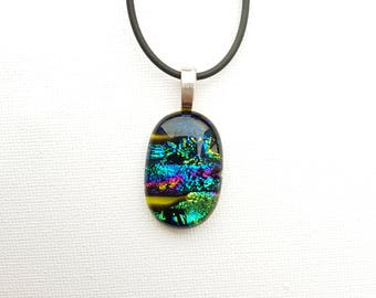 Green and multi-coloured dichroic fused glass pendant