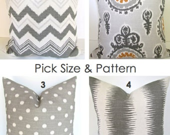 PILLOWS Throw Pillow Covers Gray Ikat Chevron pillow Gold Grey Decorative Throw pillow Covers .ALL SIZES. 18x18 16 20 Medallion Home