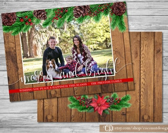 Rustic Chrismas Photo Card / Holiday Photo Card / Wood Holiday Card / Merry and Bright / Christmas Photo Card / Digital File
