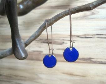 Dangle Earrings, Cobalt Blue Drop Earrings, Royal Blue Earrings, Copper Enamel Jewelry, Nickel Free Kidney Earwires, Handmade Earrings