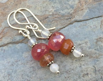 Pink Chalcedony Earrings with Copper Rutile, Moonstone and Sterling Silver, 1.5 inches long